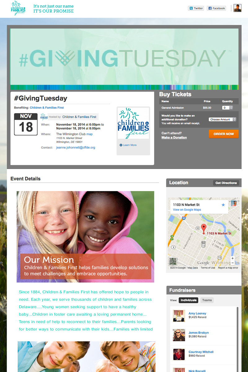 Children & Families First - Giving Tuesday. screenshot
