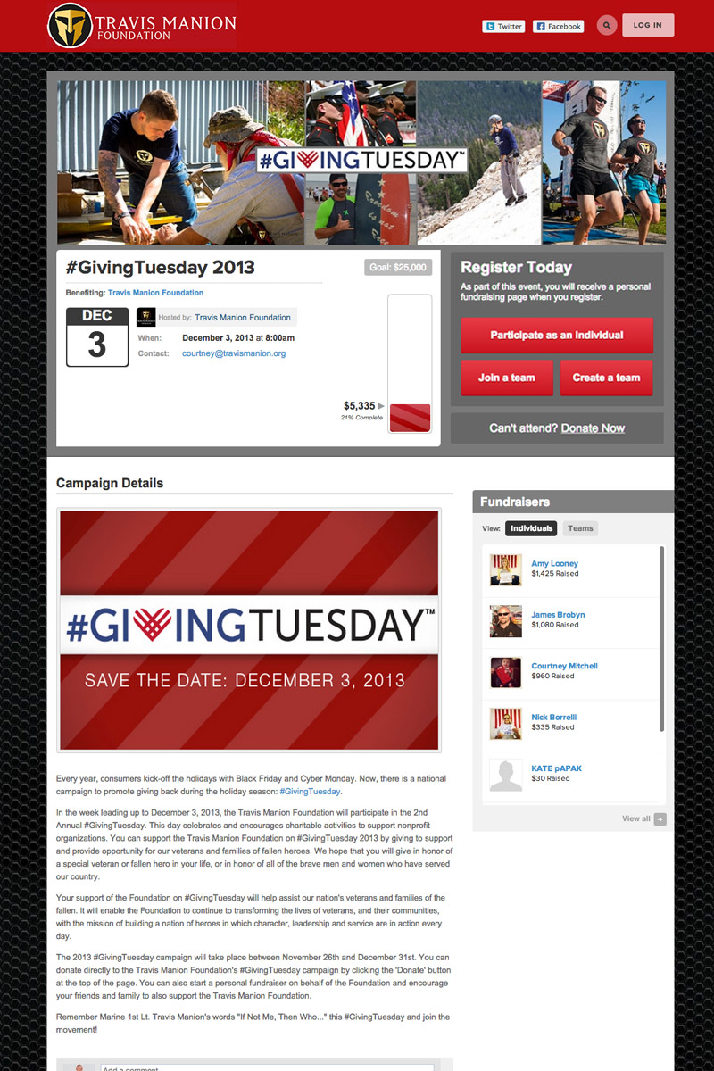 Travis Manion Foundation - Giving Tuesday screenshot