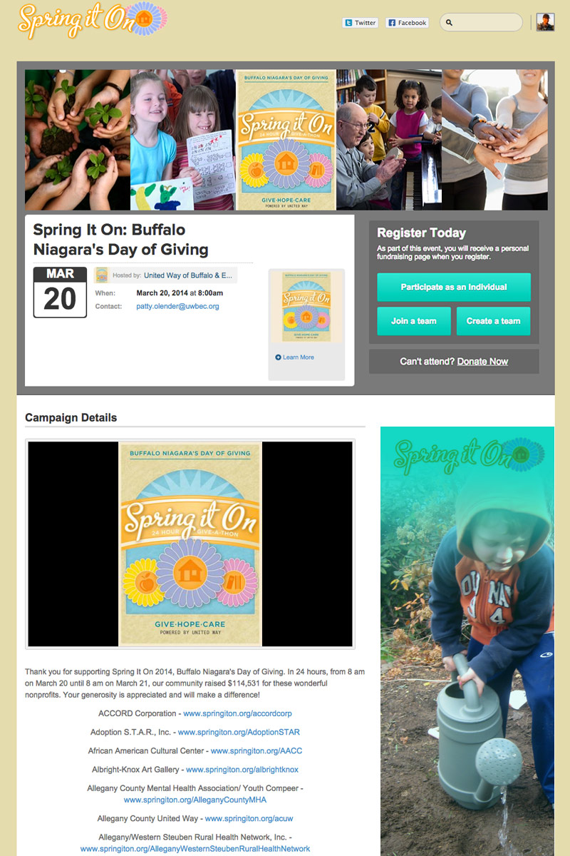 United Way of Buffalo - Spring it on Campaign screenshot