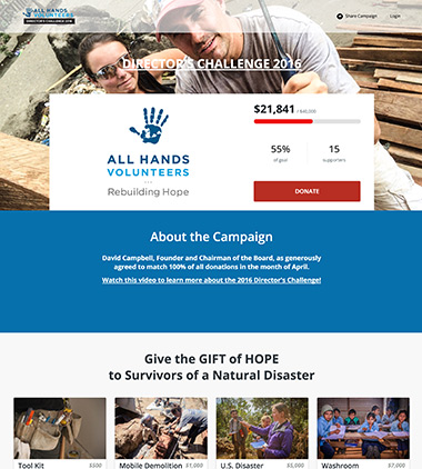 All Hands Volunteers Crowdfunding Campaign on Classy thumbnail