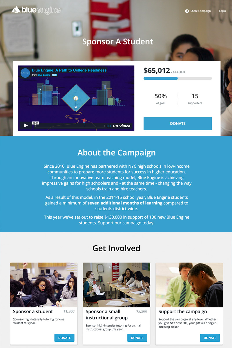 Blue Engine Crowdfunding Campaign on Classy