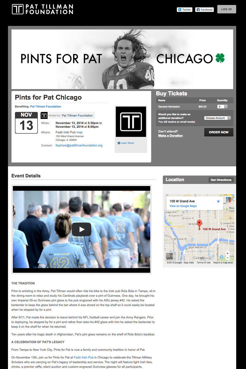 Pat Tillman Foundation - Pints for Pat Chicago screenshot