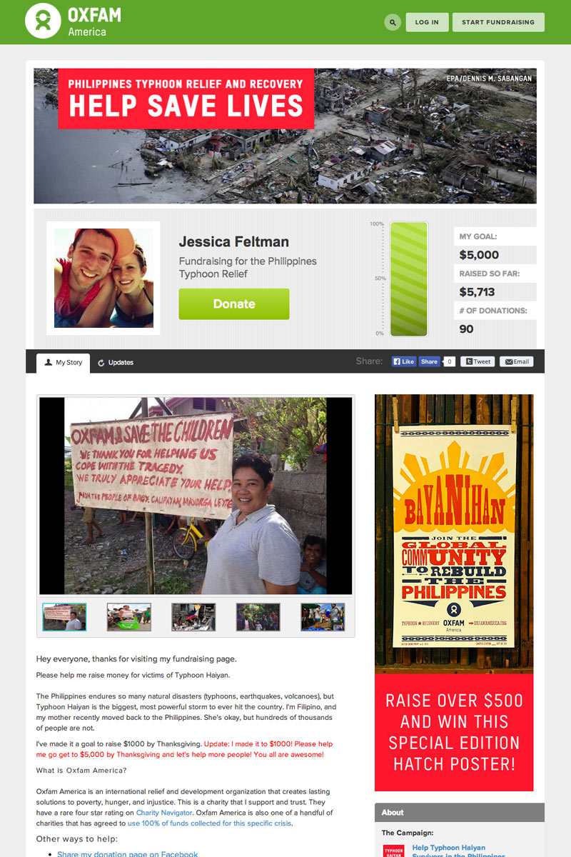 Oxfam America screenshot